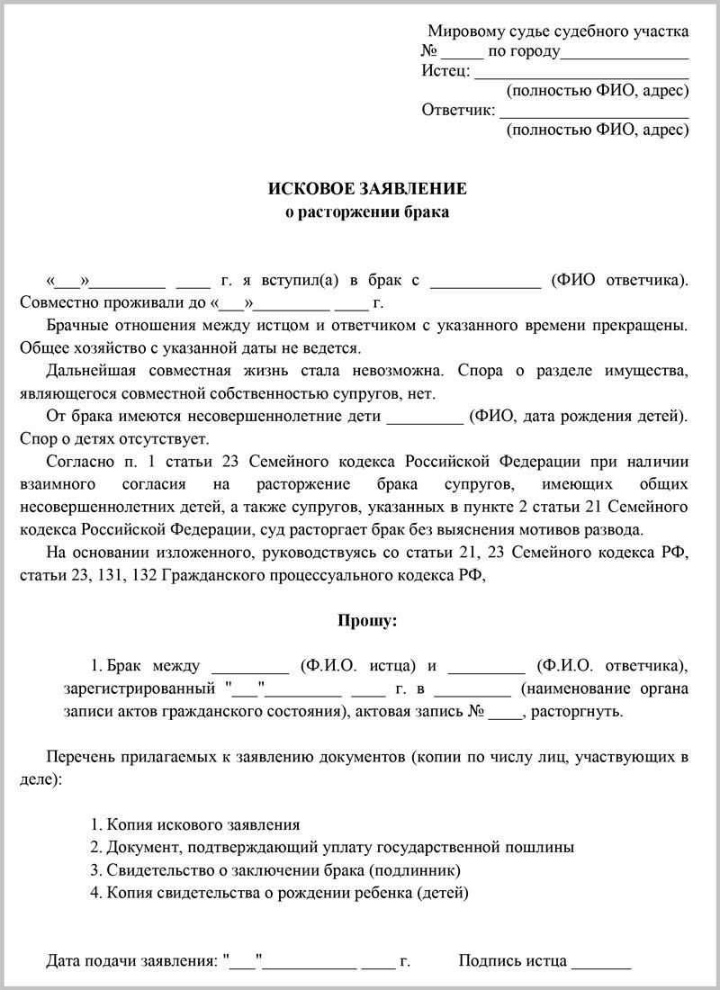 Образец заявления о разводе в суд