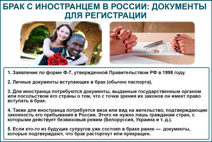 Какие требует документы брак с иностранцем в России?
