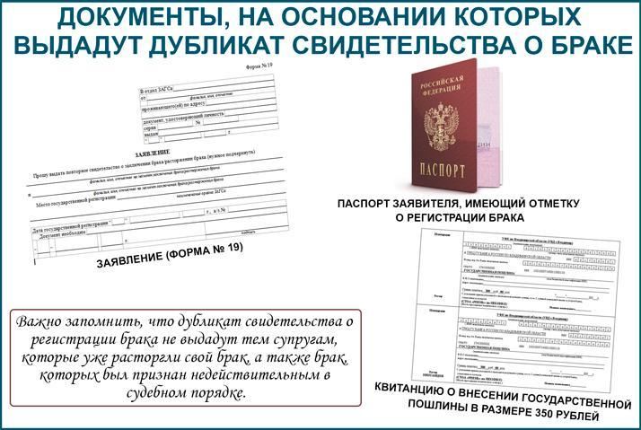 Документы, на основании которых выдадут дубликат свидетельства о браке