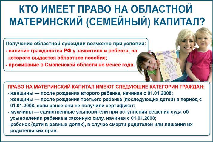 Право на получение областного материнского капитала