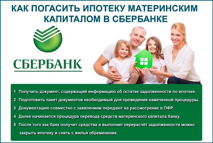 Погасить ипотеку маткапиталом в Сбербанке