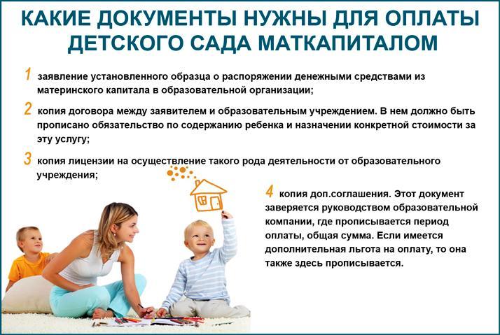 Документы для оплаты детского сада материнским капиталом