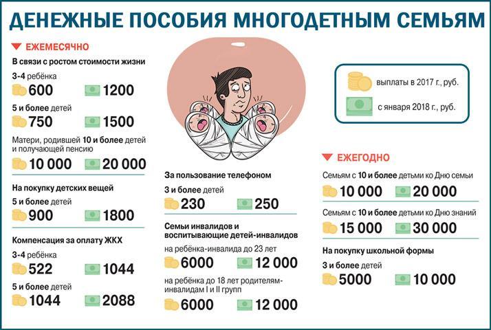 Денежные выплаты многодетным семьям