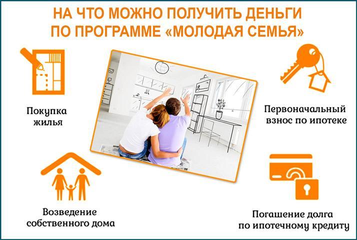 На что можно получить деньги по программе Молодая семья