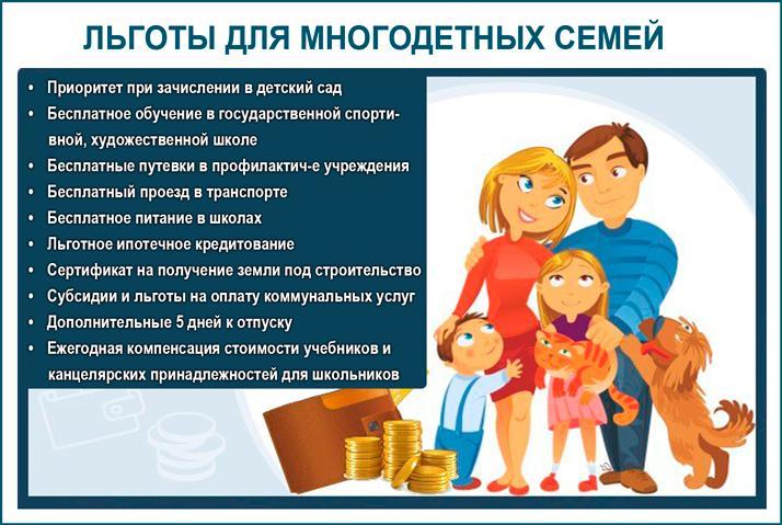 Льготы и помощь для многодетных семей