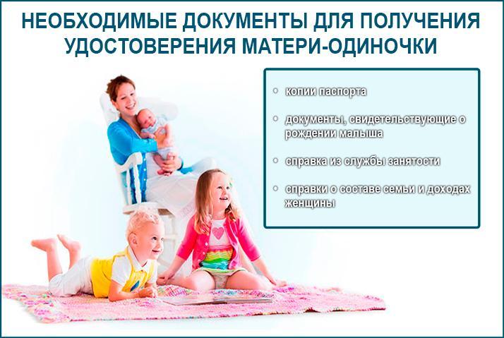 Пакет документов для получения удостоверения матери-одиночки