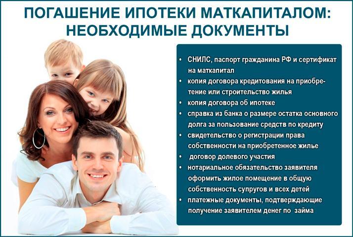 Необходимые документы для погашения ипотеки маткапиталом