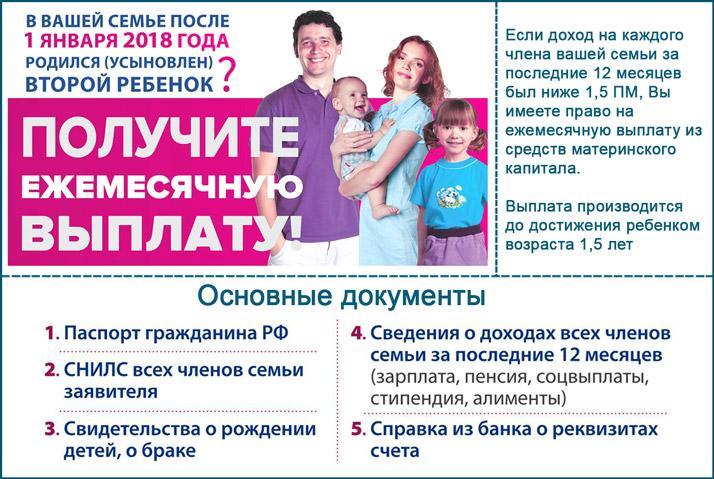 Ежемесячные пособия из материнского капитала