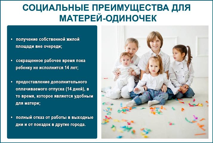 Какие социальные преимущества для матерей-одиночек?